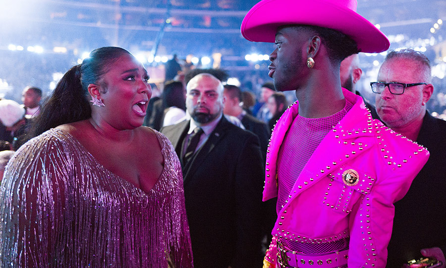 OMG! We can only imagine what <strong><a href=/tags/0/lizzo>Lizzo</a></strong> was saying to <strong><a href=/tags/0/lil-nas-x>Lil Nas X</a></strong> here!