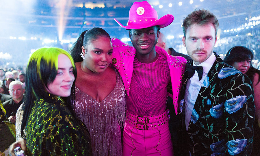 Four of the biggest winners of the night (L-R:) <strong><a href=/tags/0/billie-eilish>Billie Eilish</a></strong>, Lizzo, Lil Nas X and Billie's brother <Strong>Finneas O'Connell</strong> posed for a group snap. 