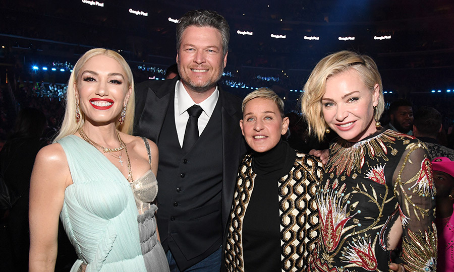 Ellen and <strong><a href=/tags/0/portia-de-rossi>Portia de Rossi</a></strong>, her wife, posed with Gwen and <strong><a href=/tags/0/blake-shelton>Blake Shelton</a></strong>, her partner.