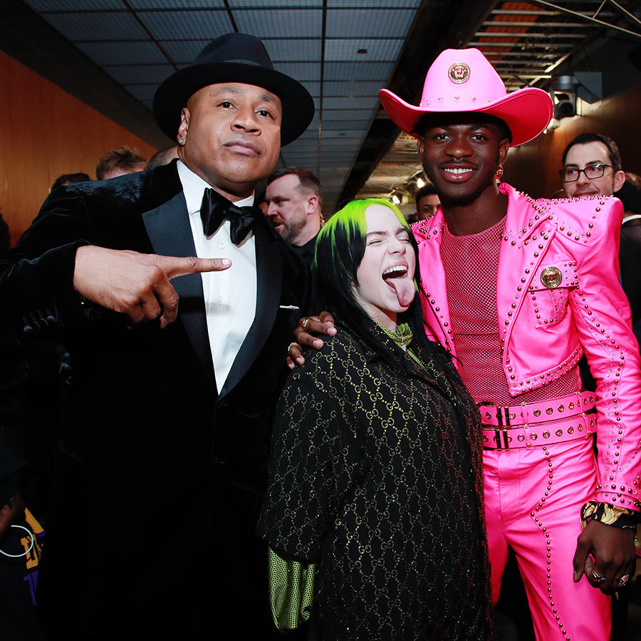 Legend meets new stars! <strong><a href=/tags/0/ll-cool-j>LL Cool J</strong></a> posed with Billie and Lil Nas X backstage.
