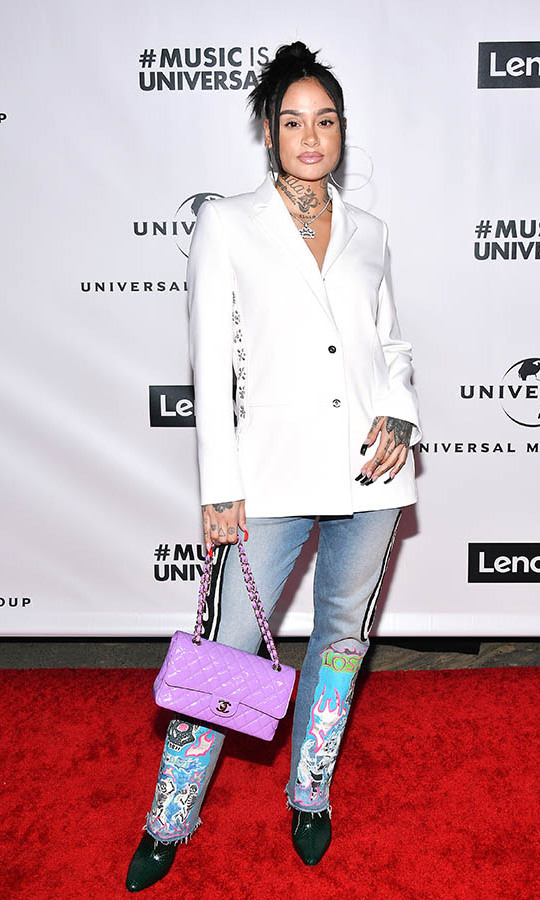 <strong>Kehlani</strong> upgraded a classic blazer and jeans with unique details and a vivid lilac <a href=/tags/0/chanel><strong>Chanel</strong></a> bag at Universal Music Group's 2020 GRAMMY after-party. <p>Photo: &copy; Amy Sussman/Getty Images for Universal Music Group