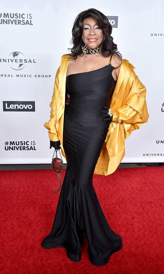 <strong>Mary Wilson</strong> of the <strong>Supremes</strong> looked fantastic in a silky black gown and golden topper at the Universal Music Group 2020 GRAMMY after-party. She is 75 years young! <p>Photo: &copy; Gregg DeGuire/FilmMagic