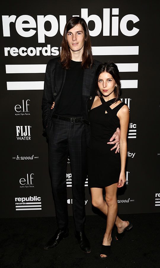 <strong>Dylan Brosnan</strong>, son of <a href=/tags/0/pierce-brosnan><strong>Pierce Brosnan</strong></a>, looked cool in all black next to girlfriend <strong>Avery Wheless</strong> at the Republic Records GRAMMY after-party at 1 Hotel West Hollywood. <p>Photo: &copy; Tommaso Boddi/Getty Images for Republic Records