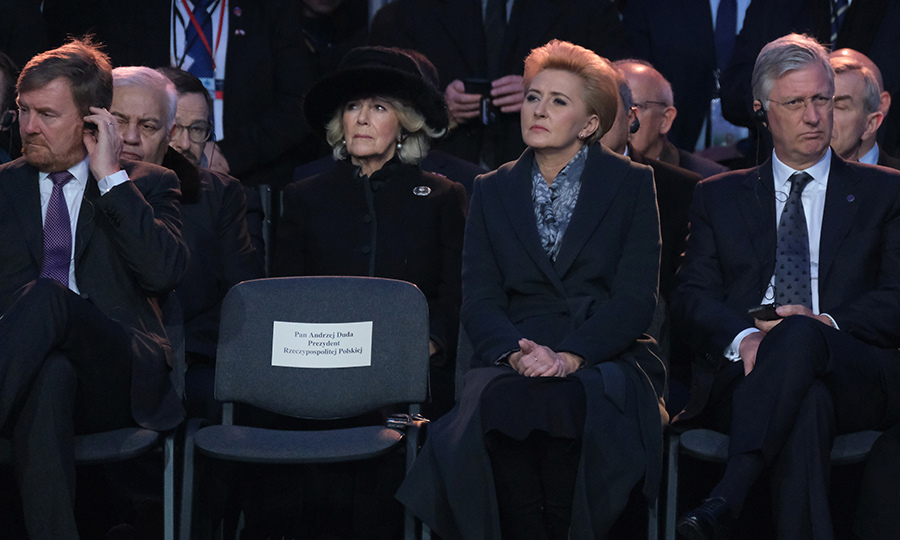 Camilla, who sat just behind Polish President <strong>Andrzej Duda</strong>, was visibly emotional throughout the event. 
