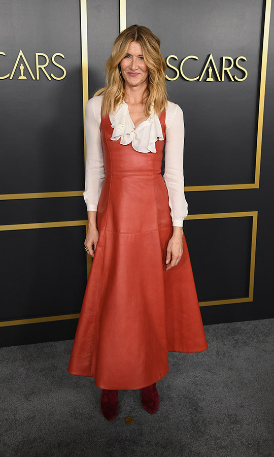 Best Supporting Actress nominee <a href=/tags/0/laura-dern><strong>Laura Dern</strong></a> juxtaposed hard and soft elements with a white frilled blouse and a flared terra cotta leather dress by <a href=/tags/0/oscar-de-la-renta><strong>Oscar de la Renta</strong></a>. <p>Photo: &copy; Kevin Winter/Getty Images