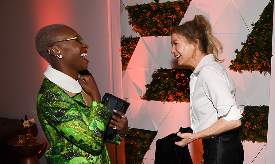 Cynthia Erivo appeared to be having a ball with all of her fellow Oscar nominees. Here, she and <em>Judy</em> actress Renée Zellweger have a giggle at the luncheon. <p>Photo: &copy; ROBYN BECK/AFP via Getty Images