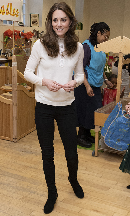 While inside, Kate was keen to get started on the day's work! 
