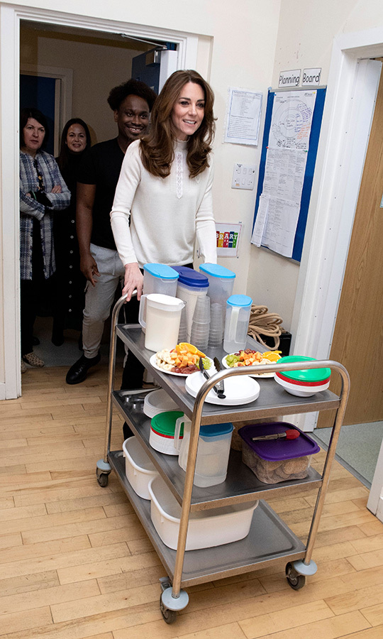 When we said Kate served breakfast, we weren't kidding! The mom of three helped get this cart full of delicious food ready and then wheeled it out to the kids.