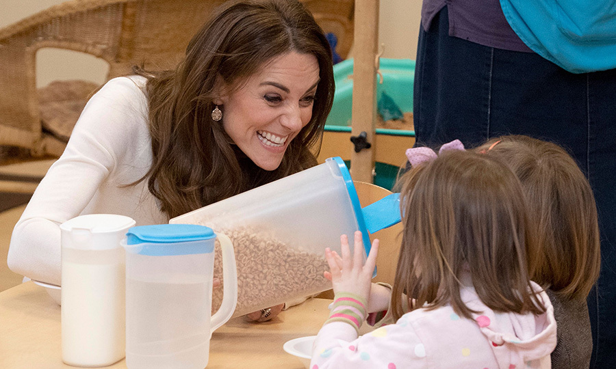"Kate was all smiles and laughs as she poured cereal for the kids, telling them to ""say when"" when they'd had enough. A good breakfast is essential for health and is the most important part of a day, and the mom of three certainly knows that!