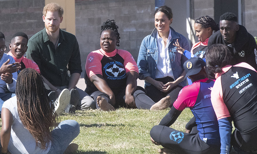 While visiting Cape Town-based Waves for Change on their <strong><a href=/tags/0/2019-african-royal-tour>royal tour of southern Africa</a></strong> in 2019, Harry and <Strong><a href=/tags/0/meghan-markle>Duchess Meghan</a></strong> spoke with staff and those who use the facilities about mental health.