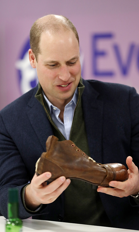 William was also shown some of the club's memorabilia, including old cleats!