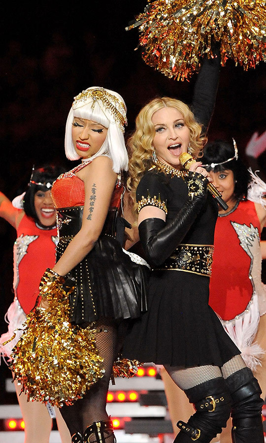 <a href=/tags/0/madonna><strong>Madonna</a></strong> was joined by <strong><a href=/tags/0/nicki-minaj>Nicki Minaj</a></strong>, <strong>LMFAO</strong>, <strong>M.I.A.</strong> and more during the 2012 show.
