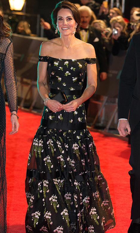 <h2>2017</h2><p> Kate stole the show at the 70th EE British Academy Film Awards at the Royal Albert Hall in London. She donned a black <a href=/tags/0/alexander-mcqueen><strong>Alexander McQueen</strong></a>  gown, which boasted an off-the-shoulder neckline and floral print. The designer is a longtime favourite of hers! <p>Photo: &copy; Daniel Leal-Olivas- WPA Pool/Getty Images