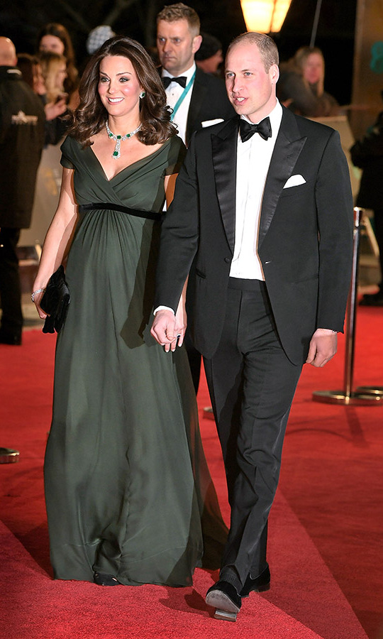 <h2>2018</h2><p>Baby on the way! An expectant Kate glowed on the red carpet at the 2018 EE British Academy Film Awards. The duchess, who was then pregnant with <a href=/tags/0/prince-louis><strong>Prince Louis</strong></a>, showcased her elegant maternity style in a deep green <a href=/tags/0/jenny-packham><strong>Jenny Packham</strong></a> gown. The belted detail beautifully highlighted her bump! <p>Photo: &copy; Samir Hussein/Samir Hussein/WireImage