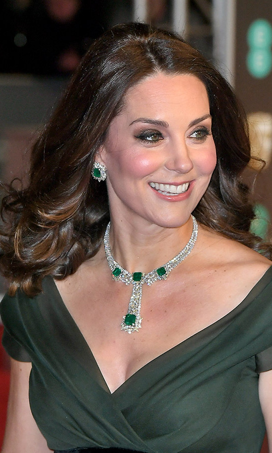 There was no missing the Duchess of Cambridge's show-stopping emerald earrings and necklace. The event marked the first time she donned the ornate necklace. <p>Photo: &copy; Samir Hussein/Samir Hussein/WireImage