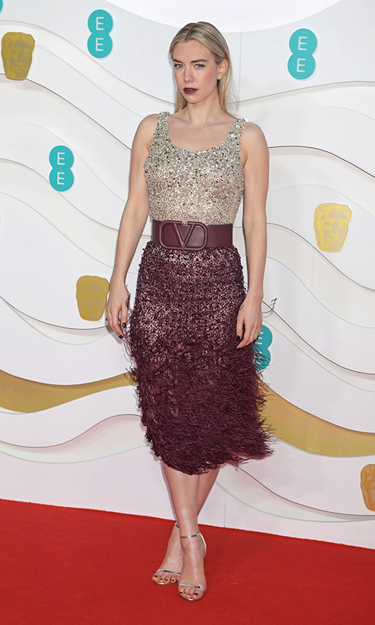 Former <a href=/tags/0/the-crown><strong><em>The Crown</strong></a></em> actress <a href=/tags/0/vanessa-kirby><strong>Vanessa Kirby</strong></a> dazzled with a rhinestone-studded top and textured maroon skirt. <p>Photo: &copy; David M. Benett/Dave Benett/Getty Images