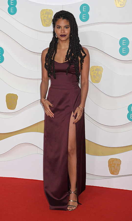 <em>Joker</em> actress <a href=/tags/0/zazie-beetz><strong> Zazie Beetz</strong></a> coordinated her lipstick to her wine-coloured slip dress. <p>Photo: &copy; David M. Benett/Dave Benett/Getty Images