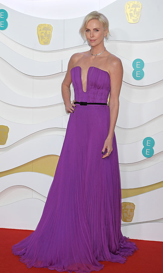 <a href=/tags/0/charlize-theron><strong>Charlize Theron</strong></a> was a vision in a pleated purple gown with skinny black belt. <p>Photo: &copy; David M. Benett/Dave Benett/Getty Images
