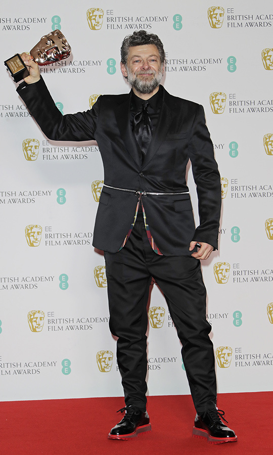 <strong>Andy Serkis</strong>, better known as Gollum in the <i>Lord of the Rings</i> movies, took home the Outstanding British Contribution to Cinema award.