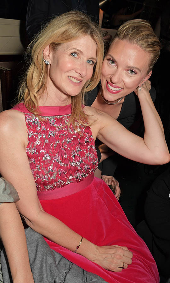 <em>Marriage Story</em> co-stars Laura Dern and Scarlett Johansson were all smiles at the Netflix BAFTA after-party! <p>Photo: &copy; David M. Benett/Dave Benett/Getty Images for Netflix