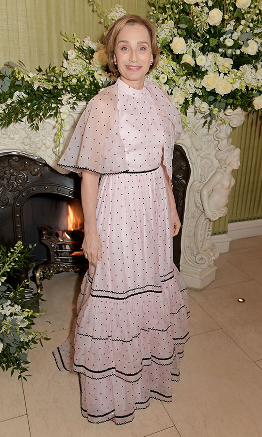 <a href=/tags/0/kristin-scott-thomas><strong>Kristin Scott Thomas</strong></a> had a girly moment at the <em>British Vogue</em> and Tiffany & Co. Fashion and Film Party in a ruffled pale pink maxi gown with tiny polka dots. <p>Photo: &copy; David M. Benett/Dave Benett/Getty Images