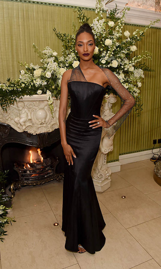 British model <strong>Jourdan Dunn</strong> was all wrapped up in a refined black gown with shimmering mesh overlay. She went to the <em>British Vogue</em> and Tiffany & Co. Fashion and Film Party. <p>Photo: &copy; David M. Benett/Dave Benett/Getty Images