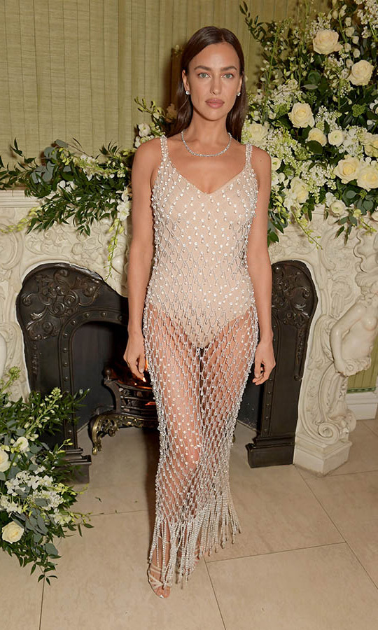Wow! At the same <em>British Vogue</em> event, supermodel <a href=/tags/0/irina-shayk><strong>Irina Shayk</strong></a> turned heads in a neutral bodysuit with matching open weave overlay. <p>Photo: &copy; David M. Benett/Dave Benett/Getty Images
