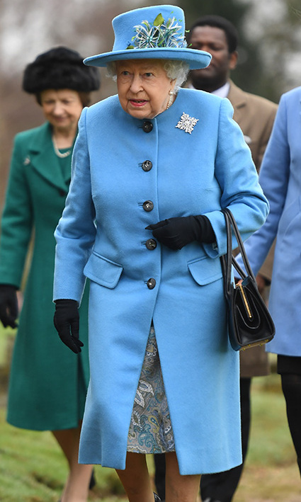 Her Majesty can wear any colour! <a href=/tags/0/queen-elizabeth-ii><strong>The Queen</strong></a> looked beautiful in a blue coat and coordinating hat and paisley dress when she arrived for Sunday service at St Peter and St Paul church in West Newton, Norfolk on Feb. 2.<p>Photo: &copy; Joe Giddens/PA Images via Getty Images