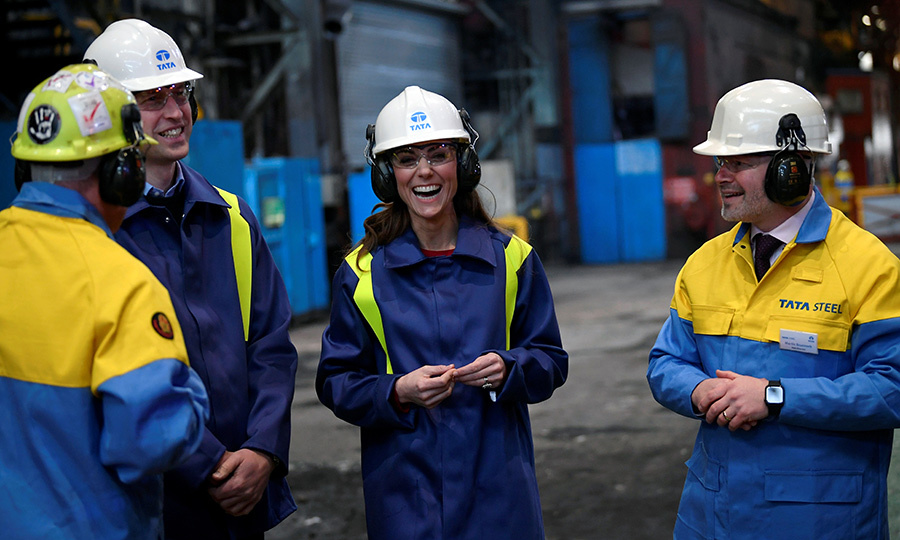 "After that, the Cambridges said ""tata"" to the ice cream shop and travelled to Port Talbot to visit the Tata Steel Plant. <p>Photo: &copy; Toby Melville - WPA Pool/ Getty Images"