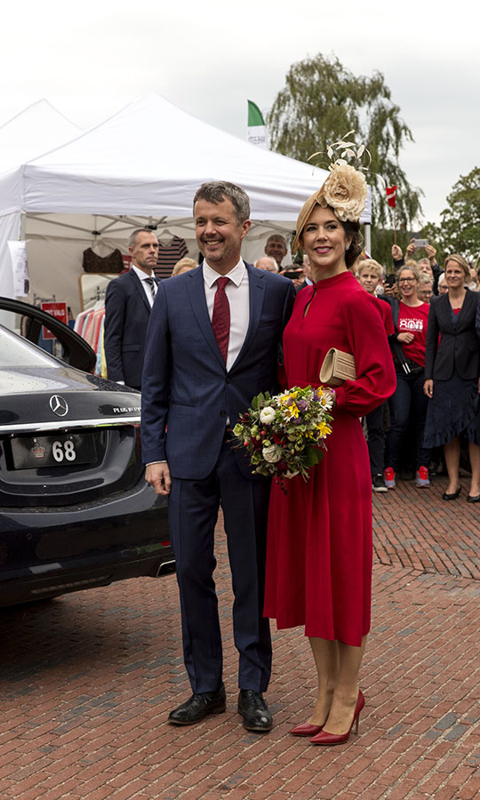 For the 800-year anniversary of the Danish flag on June 15, 2019 in Vordingborg, Denmark, Crown Princess Mary looked beautiful in patriotic red with a floral fascinator.<p>Photo: &copy; Ole Jensen/Getty Images
