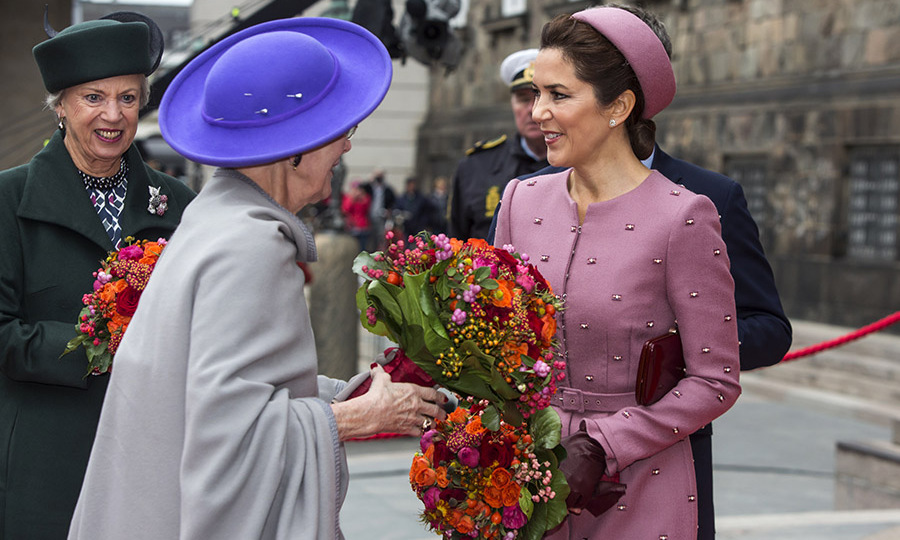 Pretty in pink! Crown Princess Mary joined <a href=/tags/0/queen-margrethe><strong>Queen Margrethe</strong></a> at the opening of Parliament on Oct. 1, 2019 in Copenhagen in a prim hat and embellished coat. <p>Photo: &copy; Ole Jensen/Getty Images