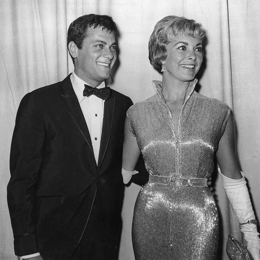 Hollywood couple <strong>Tony Curtis</strong> and <strong>Janet Leigh</strong> beamed at the 1960 Academy Awards. She would get nominated the following year for <em>Psycho</em>.<p>Photo: &copy; Hulton Archive/Getty Images