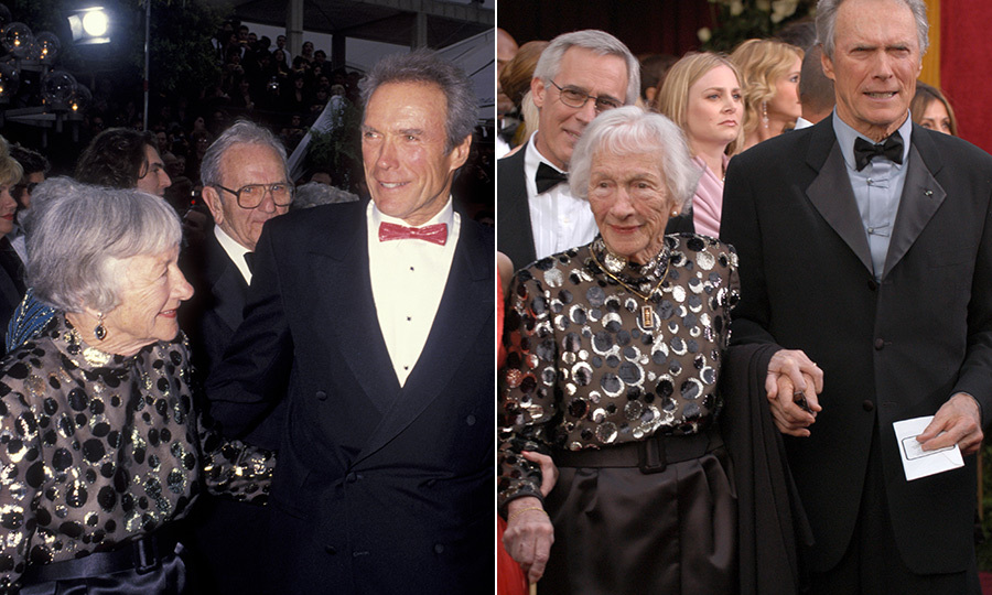 <strong><a href=/tags/0/clint-eastwood>Clint Eastwood</strong></a> brought his mom, <strong>Ruth Wood</strong>, twice! She first attended the Oscars with him in 1993, when he was nominated for Best Actor, Best Director and Best Picture for <i>Unforgiven</i>. He won the latter two awards! In 2004, he was also up for Best Picture and Best Director for <i>Mystic River</i>.