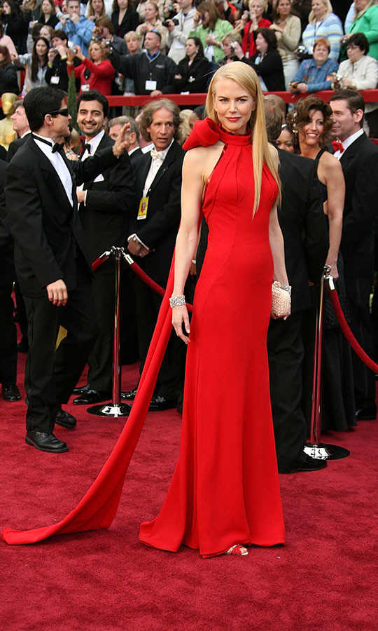 <h2>2007</h2><p>Nicole Kidman was all wrapped up in a red gown with trailing neck bow by <a href=/tags/0/balenciaga><strong>Balenciaga</strong></a>. <p>Photo: &copy; Frazer Harrison/Getty Images