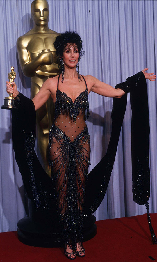 <h2>1988</h2><p>When Cher won her Best Actress in a Leading Role Oscar for <em>Moonstruck</em>, she donned a racy head-turning gown with fringed beading and a billowing stole. <p>Photo: &copy; John Barr/Liaison