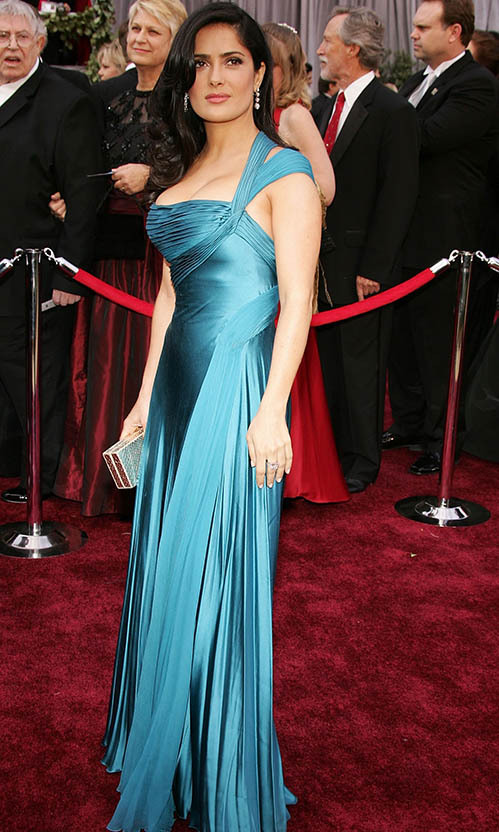 <h2>2006</h2></p><a href=/tags/0/salma-hayek><strong>Salma Hayek</strong></a> was sensational in a silky blue dress by <a href=/tags/0/versace><strong>Versace</strong></a> at the 78th Annual Academy Awards. <p>Photo: &copy; Frazer Harrison/Getty Images
