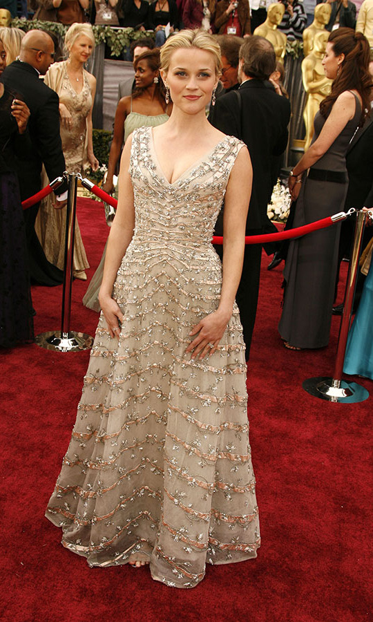 <h2>2006</h2></p><a href=/tags/0/reese-witherspoon><strong>Reese Witherspoon</strong></a> looked every inch the Best Actress nominee at the 2006 Academy Awards in a 1955 vintage <a href=/tags/0/dior><strong>Christian Dior</strong></a> dress with magnificent embellishment. She did end up taking home the prize thanks to her role in <em>Walk the Line</em>. <p>Photo: &copy; SGranitz/WireImage