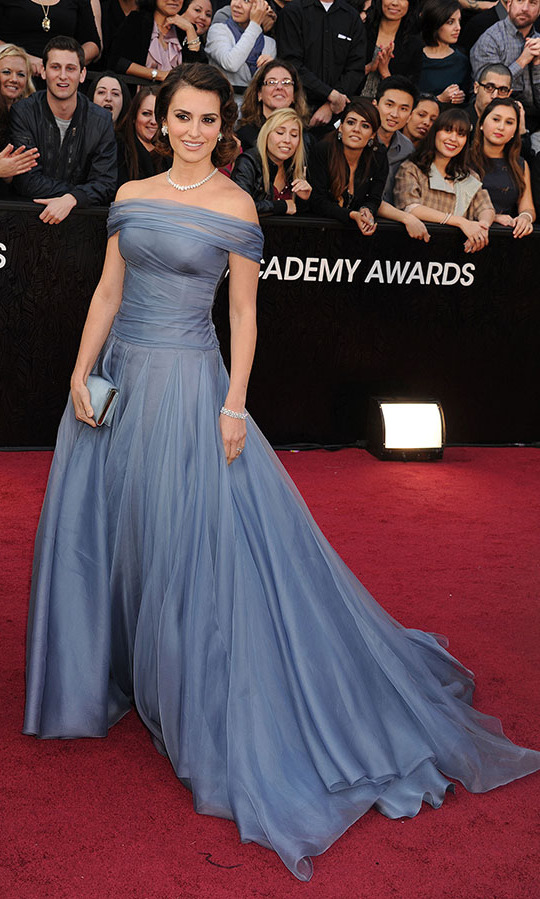 <h2>2012</h2></p>Penelope Cruz looked like a princess at the 84th Annual Academy Awards in an elegant muted blue gown by <a href=/tags/0/armani><strong>Armani Privé</strong></a>.<p>Photo: &copy; Jeffrey Mayer/WireImage