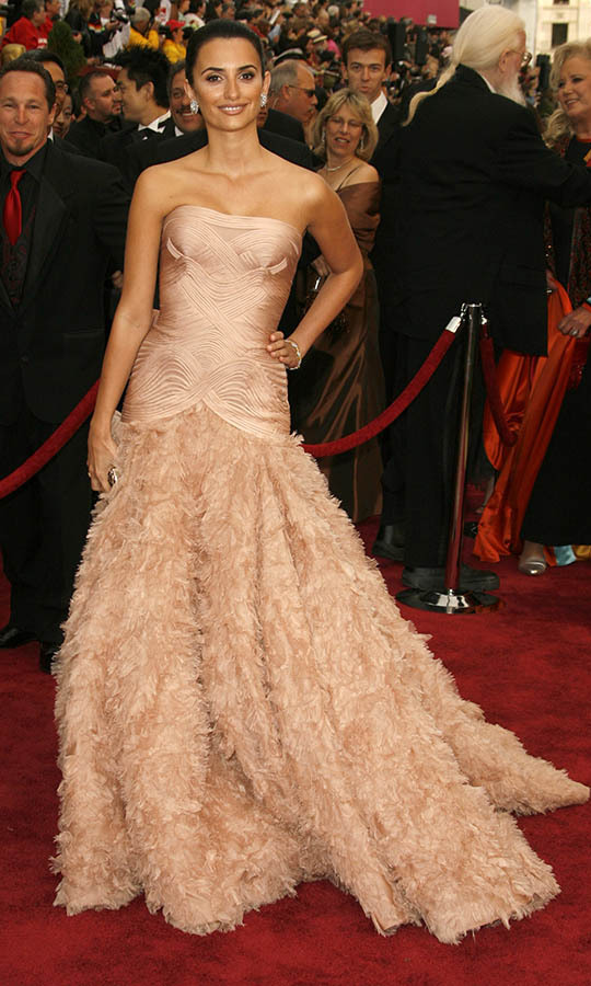 <h2>2007</h2><p><a href=/tags/0/penelope-cruz><strong>Penelope Cruz</strong></a>, who was nominated for Best Actress in a Leading Role for <em>Volver</em>, graced the Oscars red carpet in a blush feathered <a href=/tags/0/versace><strong>Versace</strong></a> dress.<p>Photo: &copy; Jeff Vespa/WireImage