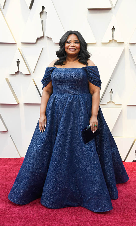 <h2>2019</h2><p>At the 91st Annual Academy Awards, <a href=/tags/0/octavia-spencer><strong>Octavia Spencer</strong></a> shimmered in a full gown with off-the-shoulder neckline by <strong>Christian Siriano</strong>. <p>Photo: &copy; Frazer Harrison/Getty Images