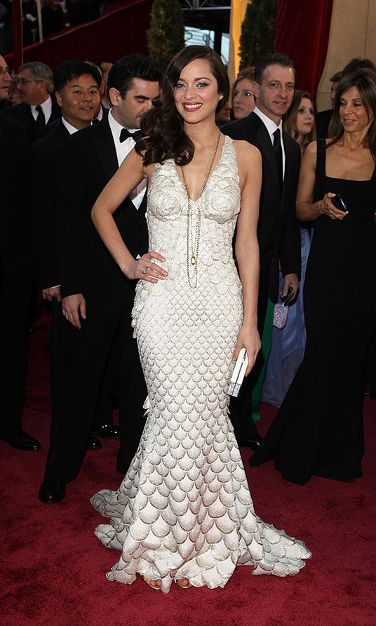 <h2>2008</h2><p>Best Actress winner <a href=/tags/0/marion-cotillard><strong>Marion Cotillard</strong></a> made a splash at the 80th Academy Awards in a mermaid-inspired white gown by <a href=/tags/0/jean-paul-gaultier><strong>Jean Paul Gaultier</strong></a>. <p>Photo: &copy; Ian West - PA Images/PA Images via Getty Images