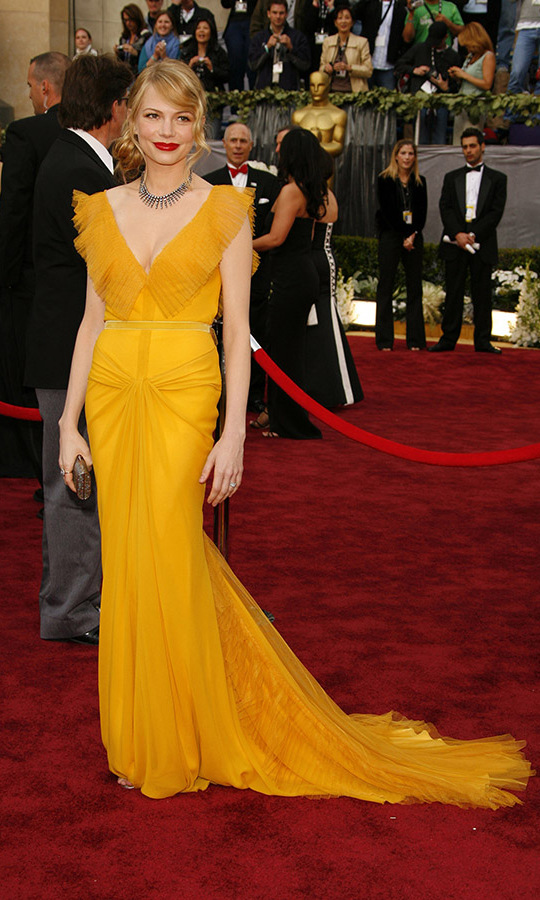 <h2>2006</h2><p><a href=/tags/0/michelle-williams><strong>Michelle Williams</strong></a>, Best Supporting Actress nominee for <em>Brokeback Mountain</em>, had an iconic fashion moment in a canary yellow <a href=/tags/0/vera-wang><strong>Vera Wang</strong></a> dress punctuated with red lipstick.<p>Photo: &copy; Chris Polk/FilmMagic