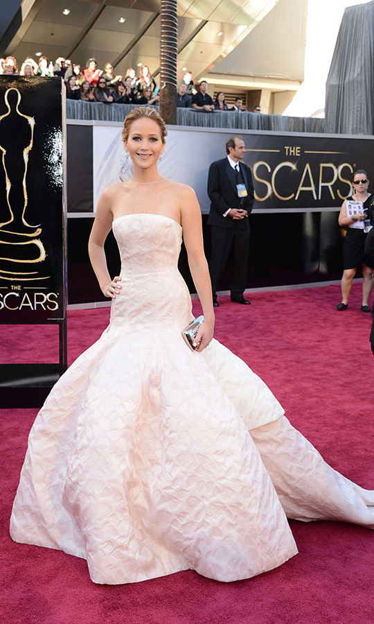 <h2>2013</h2></p>She might have had a slight slip in it when she went to collect her Best Actress award for her performance in <em>Silver Linings Playbook</em>, but Jennifer Lawrence's full-skirted <a href=/tags/0/dior><strong>Christian Dior</strong></a> dress was oh-so-dreamy. <p>Photo: &copy; Jason Merritt/Getty Images