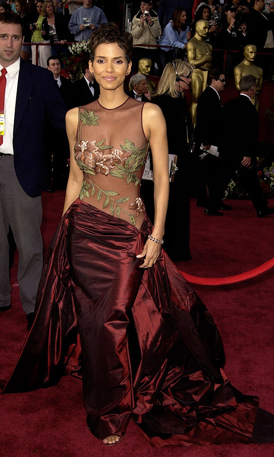 <h2>2002</h2></p><a href=/tags/0/halle-berry><strong>Halle Berry</strong></a> made a memorable impression at the 74th Annual Academy Awards in a dramatic <a href=/tags/0/elie-saab><strong>Elie Saab</strong></a> look with floral embroidered bodice and a full draped skirt. She would win Best Actress for <em>Monster's Ball</em>.<p>Photo: &copy; SGranitz/WireImage