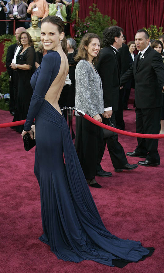 <h2>2005</h2></p><a href=/tags/0/hilary-swank><strong>Hilary Swank</strong></a>, who won Best Actress for her role in <em>Million Dollar Baby</em>, surprised on the Academy Awards red carpet when she turned around to reveal the plunging open back on what appeared to be a modest <strong>Guy Laroche</strong> gown from the front.<p>Photo: &copy; Gerard BURKHART/AFP via Getty Images
