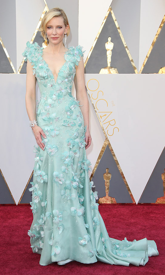 <h2>2016</h2><p>At the 88th Annual Academy Awards, Best Actress nominee Cate Blanchett was equal parts whimsy and elegant in a mint green <a href=/tags/0/armani><strong>Armani Privé</strong></a> gown with floral appliqués. <p>Photo: &copy; Dan MacMedan/WireImage