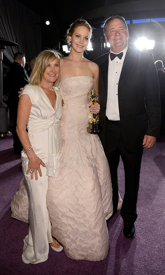 Bradley's co-star, <strong><a href=/tags/0/jennifer-lawrence>Jennifer Lawrence</a></strong>, also brought her mom and dad, <strong>Karen</strong> and <strong>Gary</strong>, with her that year! They got to share in her big Best Actress win for the film.