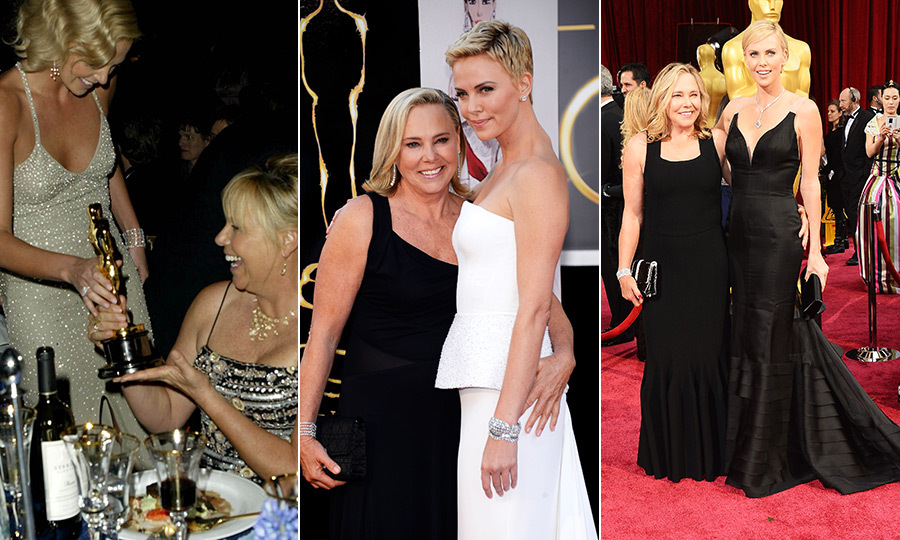 <strong><a href=/tags/0/charlize-theron>Charlize Theron</a></strong> has brought her mom to the Oscars at least four times! <strong>Gerda Maritz</strong> was thrilled when her daughter won Best Actress for <I>Monster</I> in 2003, and she's joined Charlize since in 2010, 2013 and 2014. There's a good chance Gerda will be with her this year, since Charlize is nominated again! It's really no wonder Charlize is such a great mom herself, considering her own mother is a pillar of support!