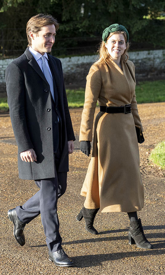 "<h2>December 2019</h2><p> After the couple <a href=""https://ca.hellomagazine.com/royalty/02019121954122/princess-beatrice-engagement-london-chiltern-firehouse/1""><strong>hosted their engagement party</strong></a> on Dec. 18 at the Chiltern Firehouse in London, Edoardo joined his fiancée and <a href=""https://ca.hellomagazine.com/royalty/02019122554204/kate-middleton-christmas-day-church-service""><strong>many other members</strong></a> of the <a href=/tags/0/british-royals><strong>Royal Family</strong></a> at Christmas Day church service at the Church of St Mary Magdalene on the <a href=/tags/0/sandringham><strong>Sandringham</strong></a> estate on Dec. 25, 2019 in King's Lynn. <p>Photo: &copy; UK Press Pool/UK Press via Getty Images"