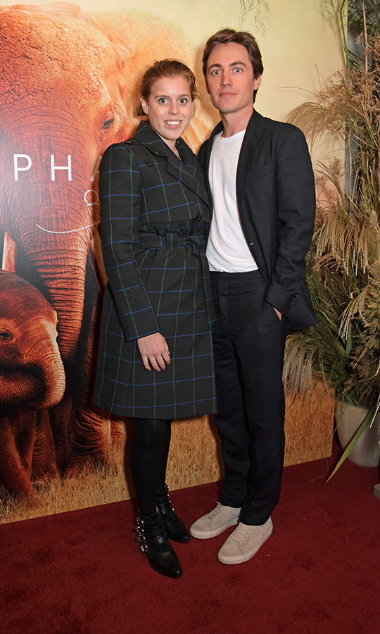<h2>October 2019</h2><p>Recently engaged Princess Beatrice of York and Edoardo lovingly struck a pose at the London premiere of Apple's documentary <em>The Elephant Queen</em> on Oct. 17.<p>Photo: &copy; David M. Benett/Dave Benett/Getty Images for Apple